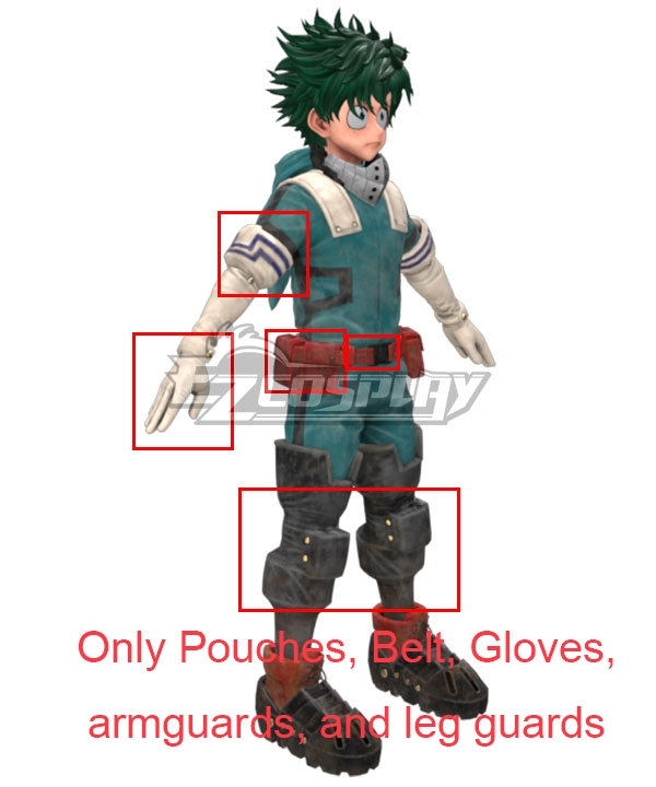 My Hero Academia Boku No Hero Akademia Izuku Midoriya Deku New Edition Gamma Suit 2.0 Cosplay Costume -Only Pouches, Belt, Gloves, armguards, and leg guards