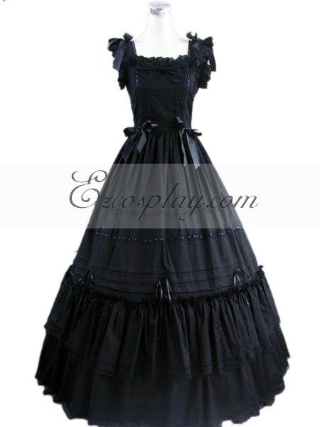 Vintage Style Wedding Dresses, Vintage Inspired Wedding Gowns Black Sleeveless Gothic Lolita Dress-LTFS0106 $117.99 AT vintagedancer.com