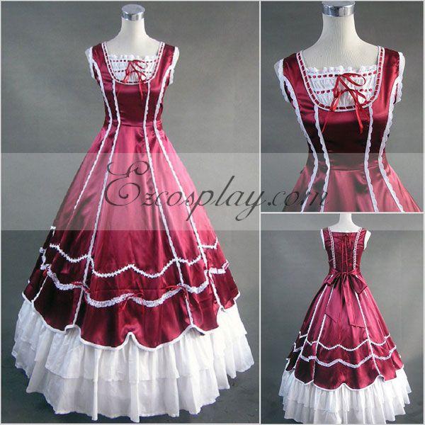 Red Sleeveless Gothic Lolita Dress-LTFS0107