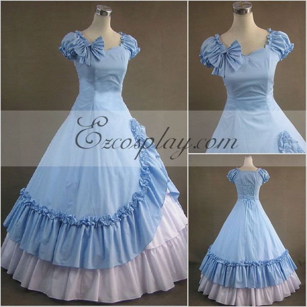 Victorian Dresses, Clothing: Patterns, Costumes, Custom Dresses Blue Sleeveless Gothic Lolita Dress-LTFS0108 $117.99 AT vintagedancer.com
