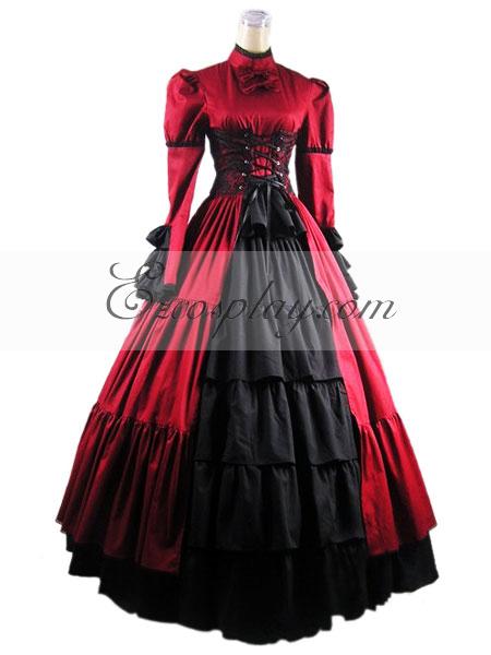 Red Long Sleeve Gothic Lolita Dress-LTFS0017