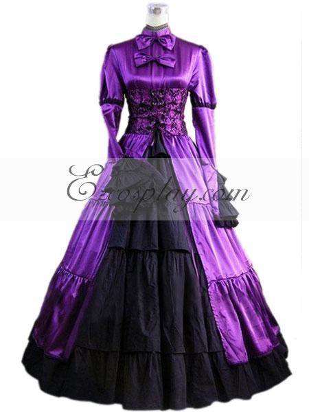 Purple Long Sleeve Gothic Lolita Dress-LTFS0018