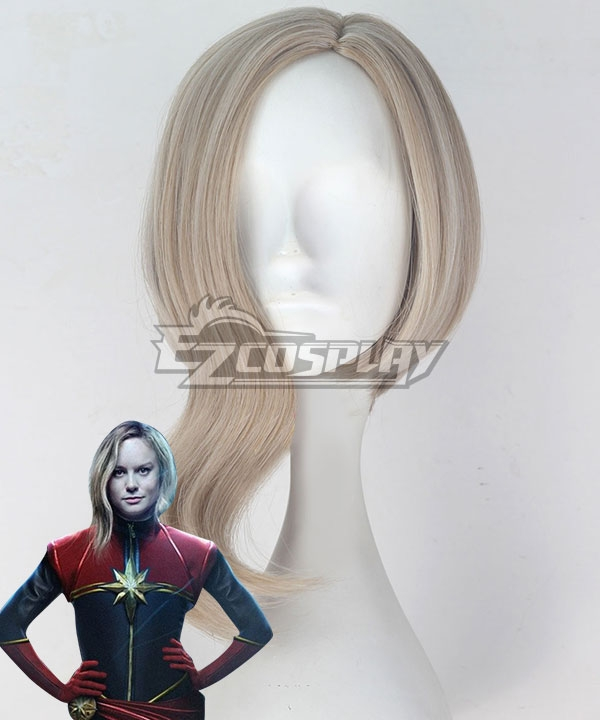 2019 Movie Captain Marvel Carol Danvers Grey Yellow Cosplay Wig