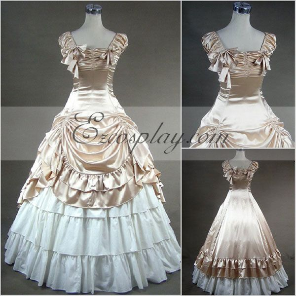 Victorian Dresses, Clothing: Patterns, Costumes, Custom Dresses Apricot Sleeveless Gothic Lolita Dress Cosplay Costume $117.99 AT vintagedancer.com