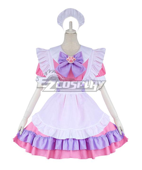 Pink and White Lolita Cute Cat Maid Dress Cosplay Costume - EMDS041Y