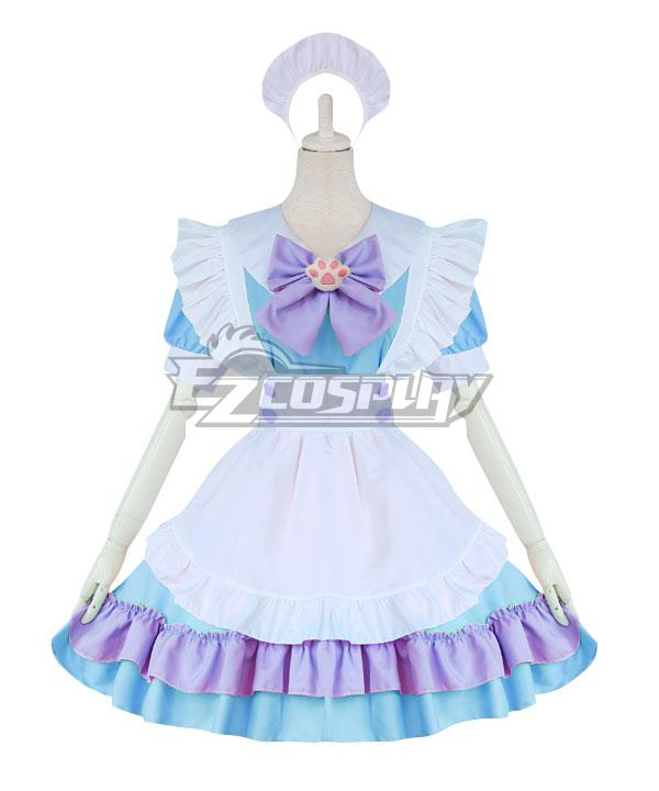 Blue and White Lolita Cute Cat Maid Dress Cosplay Costume - EMDS042Y