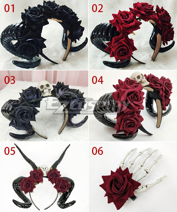 Halloween Devil Horns Skull Flower Headwear Skull Hand Cosplay Accessory Prop