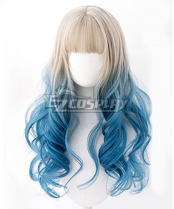 Japan Harajuku Lolita Series Light Golden Blue Cosplay Wig - EWL170Y