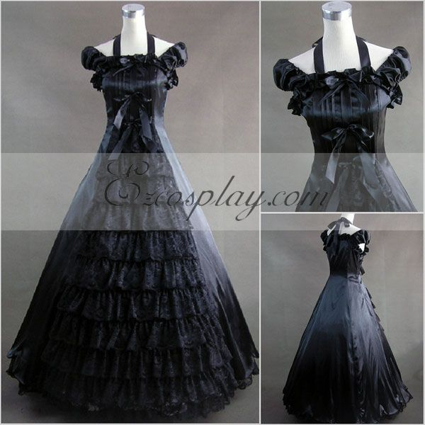 Vintage Style Wedding Dresses, Vintage Inspired Wedding Gowns Black Sleeveless Gothic Lolita Dress-LTFS0027 $117.99 AT vintagedancer.com