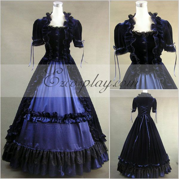 Victorian Dresses, Clothing: Patterns, Costumes, Custom Dresses Blue-Black Short Sleeve Gothic Lolita Dress-LTFS0030 $117.99 AT vintagedancer.com