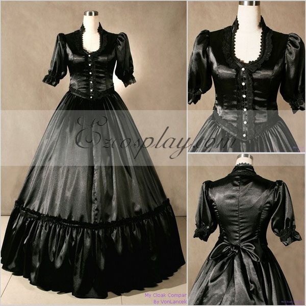 Victorian Dresses, Clothing: Patterns, Costumes, Custom Dresses Blackish Short Sleeve Gothic Lolita Dress-LTFS0039 $117.99 AT vintagedancer.com