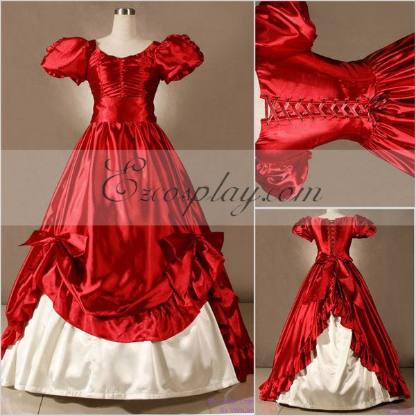 Old Fashioned Dresses | Old Dress Styles Red Short Sleeve Gothic Lolita Dress-LTFS0055 $117.99 AT vintagedancer.com