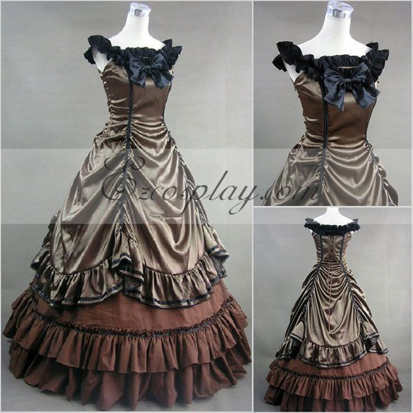 Victorian Costumes: Dresses, Saloon Girls, Southern Belle, Witch Sepia Sleeveless Gothic Lolita Dress-LTFS0005 $117.99 AT vintagedancer.com