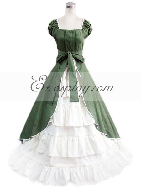 Victorian Dresses | Victorian Ballgowns | Victorian Clothing Green Sleeveless Gothic Lolita Dress-LTFS0065 $117.99 AT vintagedancer.com