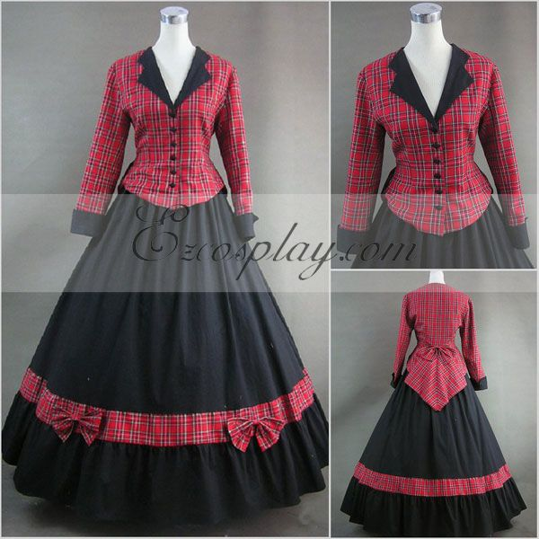 Victorian Dresses, Clothing: Patterns, Costumes, Custom Dresses Red lattice Long Sleeve Gothic Lolita Dress-LTFS0066 $117.99 AT vintagedancer.com