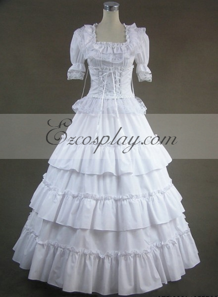 Steampunk Wedding Dresses | Vintage, Victorian, Black White Short Sleeve Gothic Lolita Dress-LTFS0006 $117.99 AT vintagedancer.com