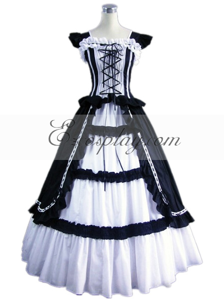 Dark Blue Sleeveless Gothic Lolita Dress-LTFS0009