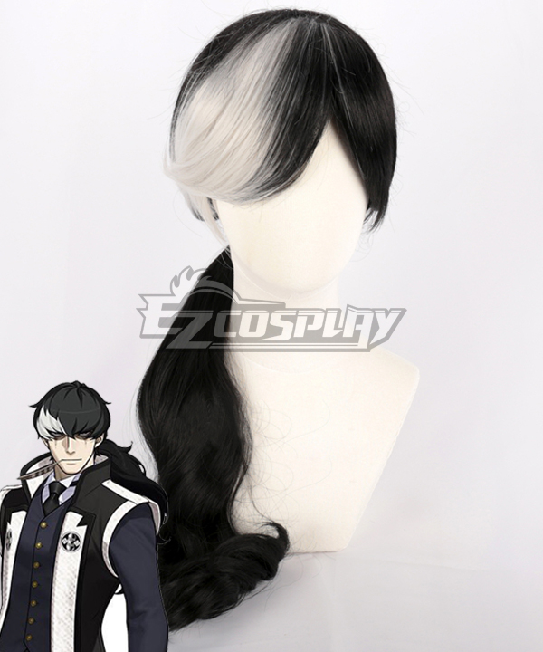Ace Attorney Simon Blackquill Black White Cosplay Wig