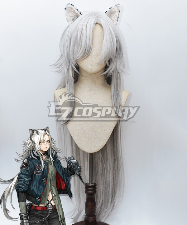 Arknights Indra White Cosplay Wig - Wig + Ears