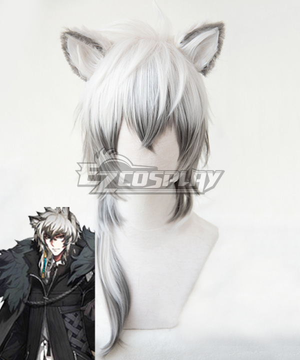 Arknights SilverAsh White Cosplay Wig - Wig + Ears