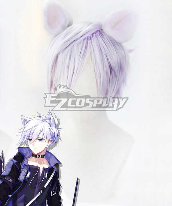 Arknights Steward White Purple Cosplay Wig - Wig + Ears