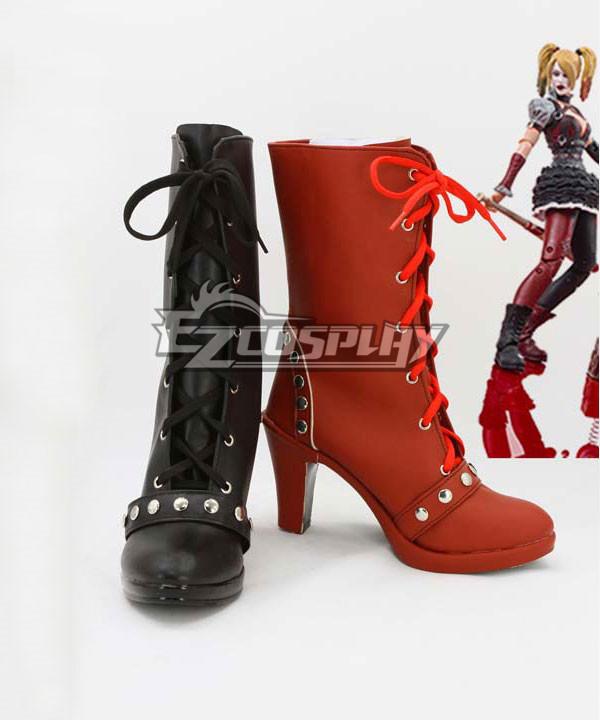 DC Comics Batman: Arkham Knight Asylum City Harley Quinn Black And Red Shoes Cosplay Boots