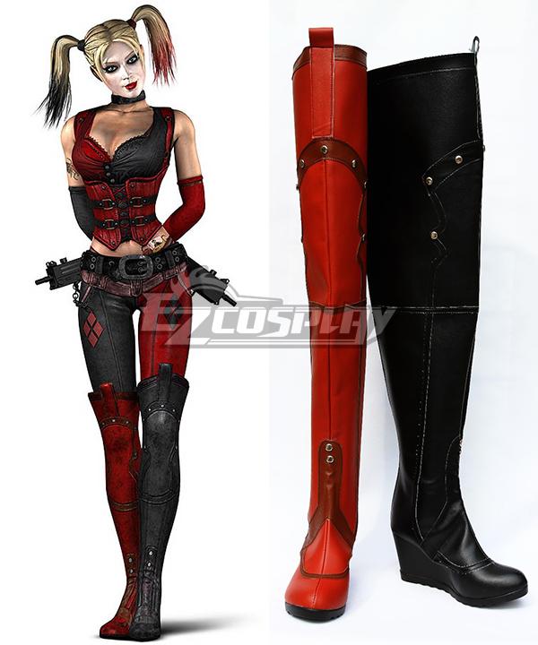 DC Comics Batman Arkham Asylum Harley Quinn Cosplay Red Black Shoes Boots