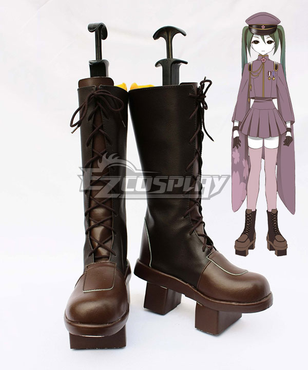 Vocaloid Thousand Cherry Tree Hatsune Miku Brown Shoes Cosplay Boots