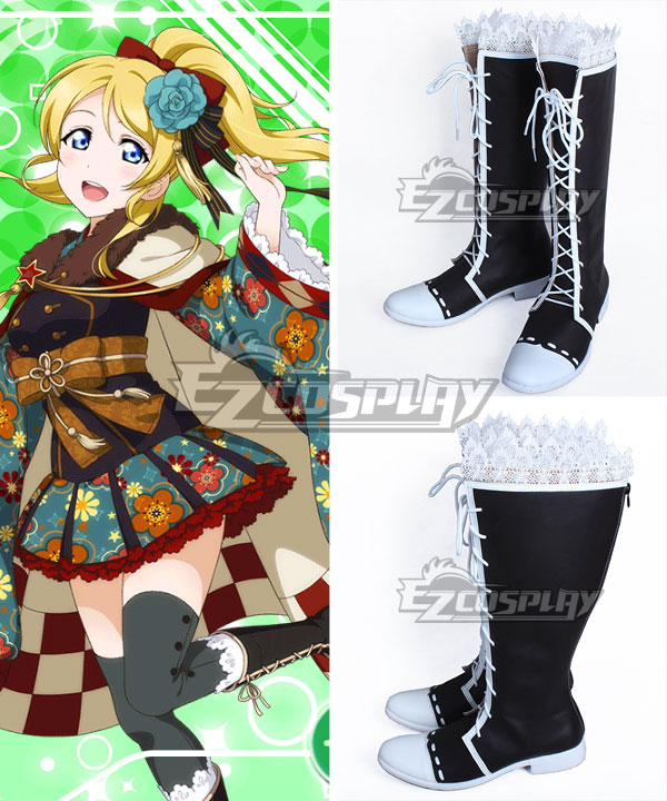 Love Live! Lovelive! Taisho Roman Eli Ayase Ellie Black Shoes Cosplay Boots