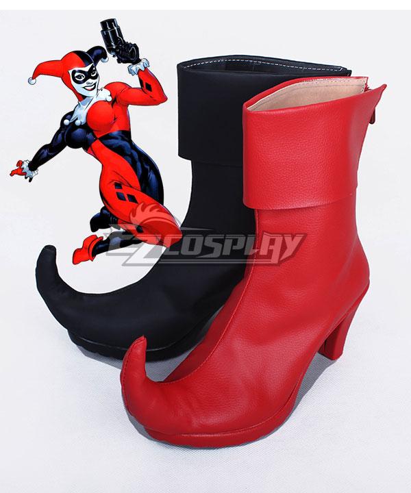 DC Comics Batman Arkham Asylum Harley Quinn Joker Black And Red Shoes Cosplay Boots