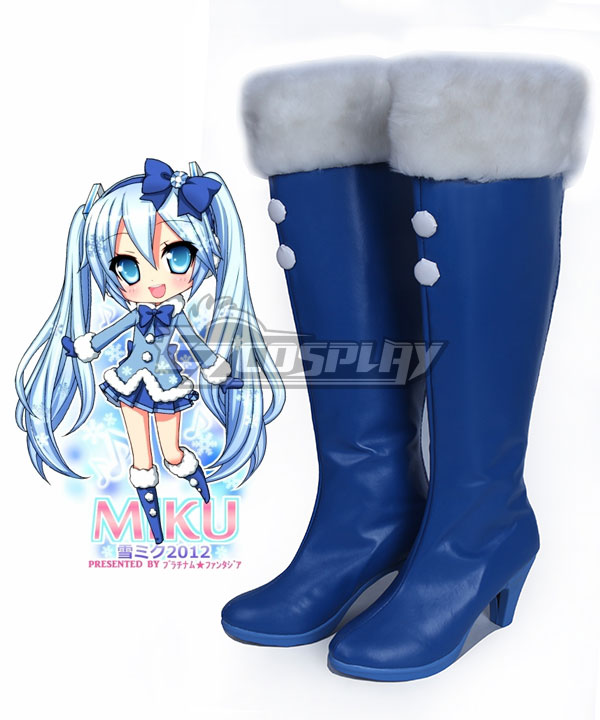 Vocaloid Hatsune Snow Miku Fluffy Coat Ver. Blue Shoes Cosplay Boots