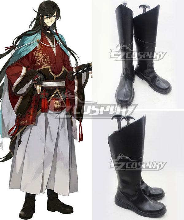 Katsugeki Touken Ranbu Izuminokami Kanesada Black Shoes Cosplay Boots