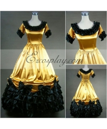 Yellow Short Sleeve Gothic Lolita Dress-LTFS0011