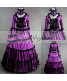 Purple Long Sleeve Gothic Lolita Dress Cosplay Costume