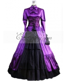 Purple Long Sleeve Gothic Lolita Dress-LTFS0018