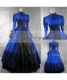 Blue Long Sleeve Gothic Lolita Dress-LTFS0019