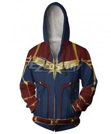 2019 Movie Captain Marvel Carol Danvers Printed Coat Hoodie Cosplay Costume