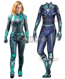 2019 Movie Captain Marvel Carol Danvers Printed Jumpsuit Cosplay Costume