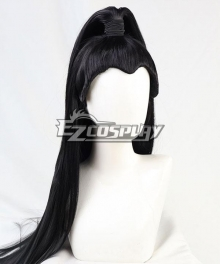 General 100cm Long Straight Hair Middle Part High Ponytail Black Cosplay Wig