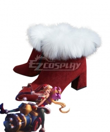 League of Legends LOL Ambitious Elf Jinx Christmas Red Cosplay Shoes