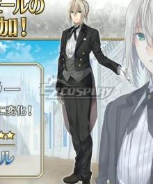 Fate Grand Order FGO Saber Bedivere Silver Butler Cosplay Costume