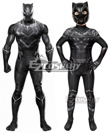 Kids Marvel Captain America: Civil War Black Panther T'Challa Printed Zentai Jumpsuit Cosplay Costume