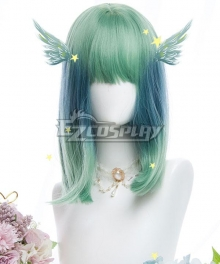 Japan Harajuku Lolita Series Ode to the Blue Bird Green Cosplay Wig