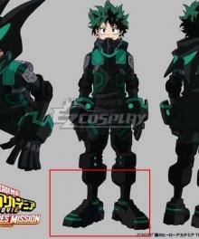 My Hero Academia World Heroes Mission Izuku Midoriya Deku Black Shoes Cosplay Boots