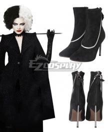Disney Movie Cruella de Vil Black Cosplay Shoes