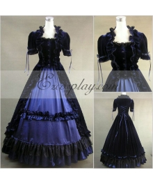 Blue-Black Short Sleeve Gothic Lolita Dress
