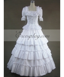 White Short Sleeve Gothic Lolita Dress-LTFS0006