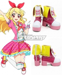 Aikatsu! Idol Activity Hoshimiya Ichigo Pink Yellow White Shoes Cosplay Boots