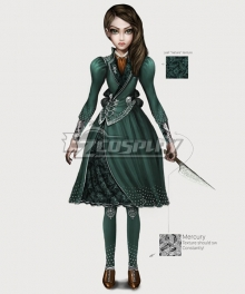 Alice: Asylum Alice: Madness Return Alice Barginning dress Green Cosplay Costume