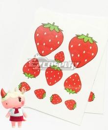 Animal Crossing: New Horrizon Merengue Rhino Strawberry Tattoo Stickers Cosplay Accessory Prop